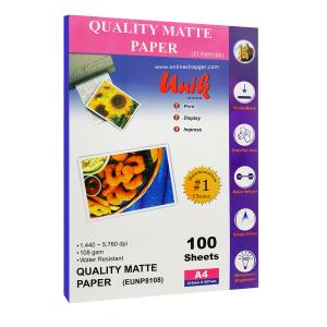 کاغذ 108 گرم مات یونیک A4